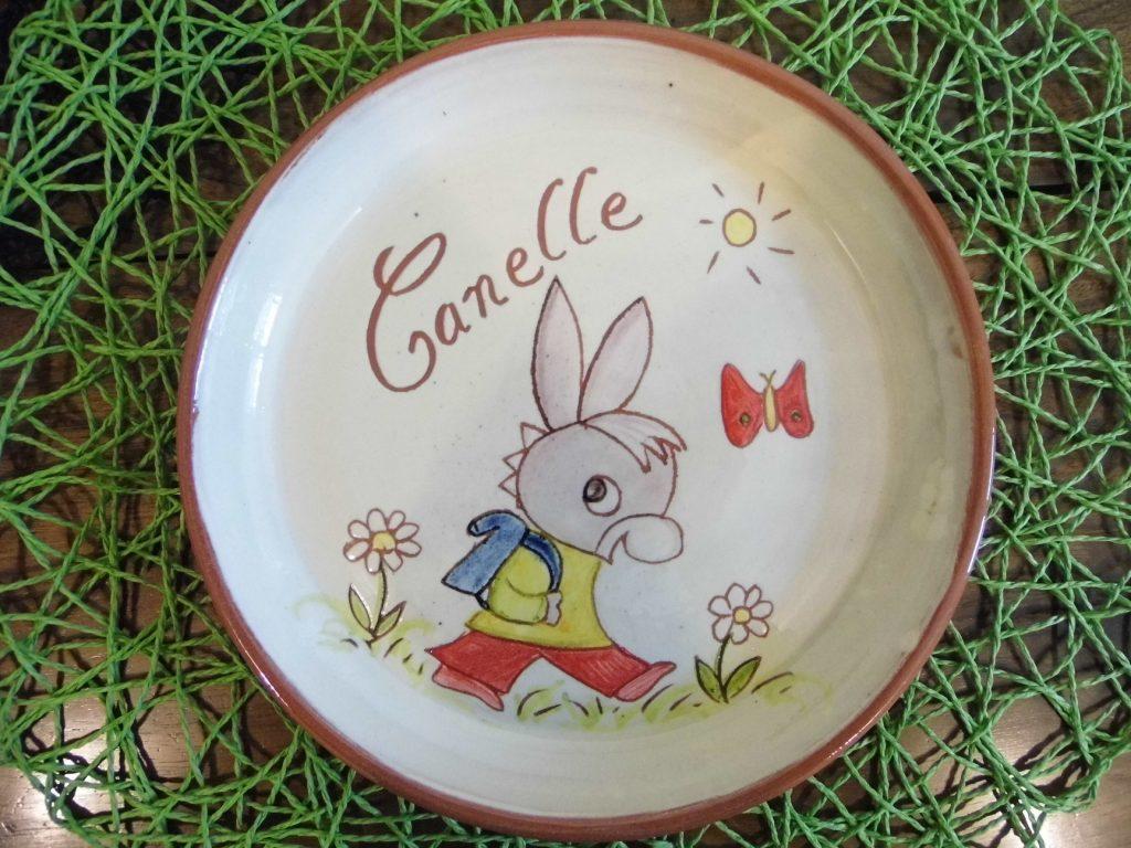 Assiette personnalisée avec prénom et décoration âne trotro