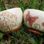 bols personnalisés en céramique fait main, décor mouton papillon
