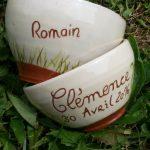 Bols personnalisés avec date et prénom Romain Clémence