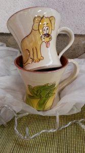 Mugs avec décors animaux chien grenouille