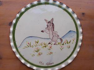 plat diviseur en céramique artisanale décors âne