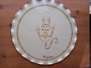 plat diviseur en céramique décors chat