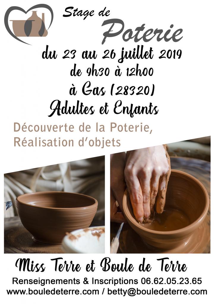 affiche stage poterie du 23 au 26 juillet