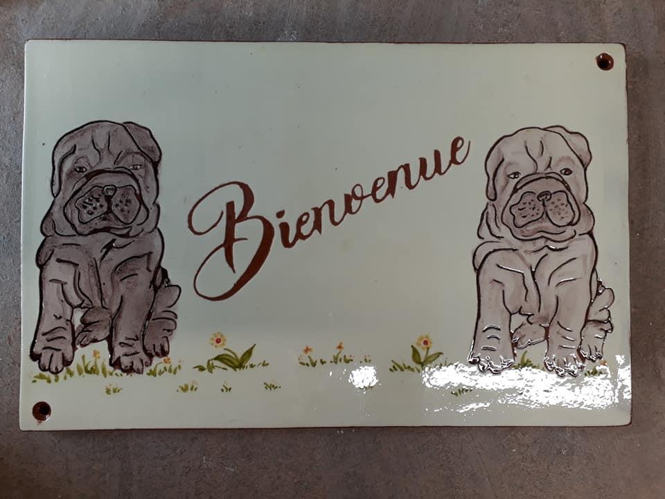 plaque de maison bienvenue chiens