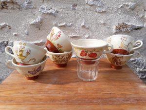 poterie entonnoir à confiture en céramique avec décor animaux