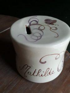 tirelire boite personnalisée avec prénom et décoration papillon