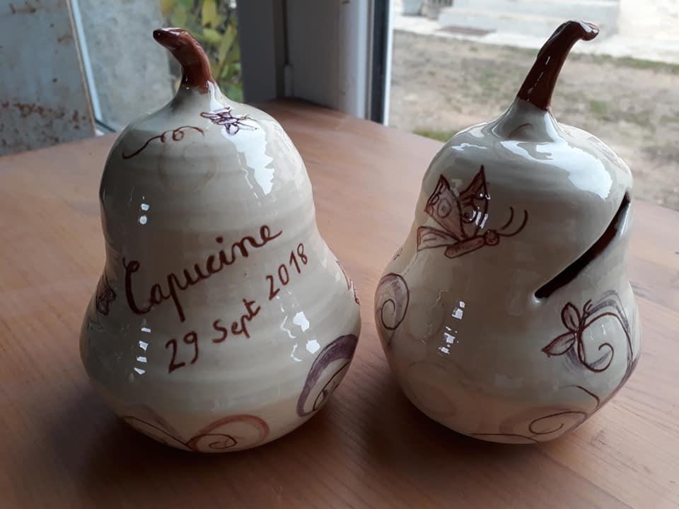 tirelires poire personnalisées originale en céramique