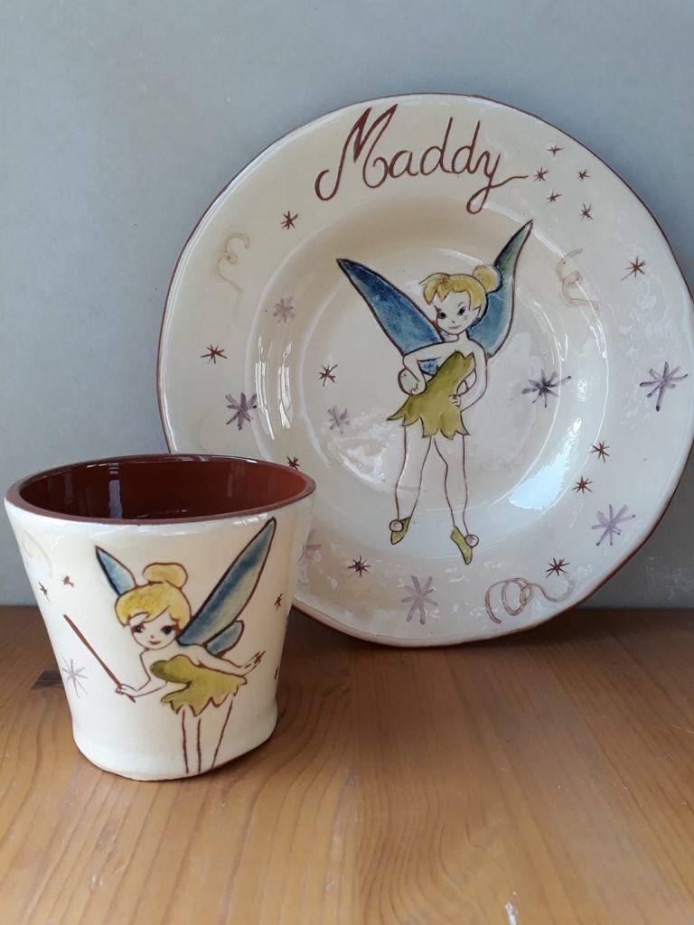 Assiette et mug personnalisé avec décor fée et prénom