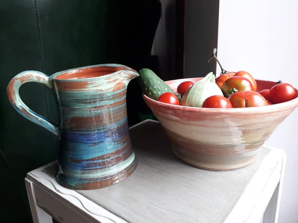pichet et saladier poterie artisanale miss terre et boule de terre