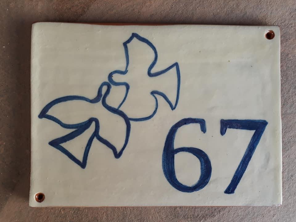 plaque numéro de maison personnalisée oiseaux