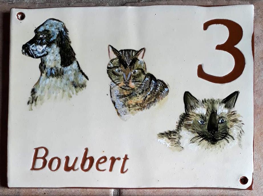 plaque de maison personnalisée nom et numéro sur mesure animaux chien et chats