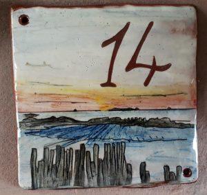 plaque maison personnalisee mer numero 14