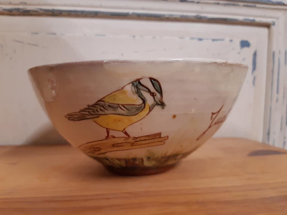 grand bol personnalisé pour julie avec des oiseaux 2