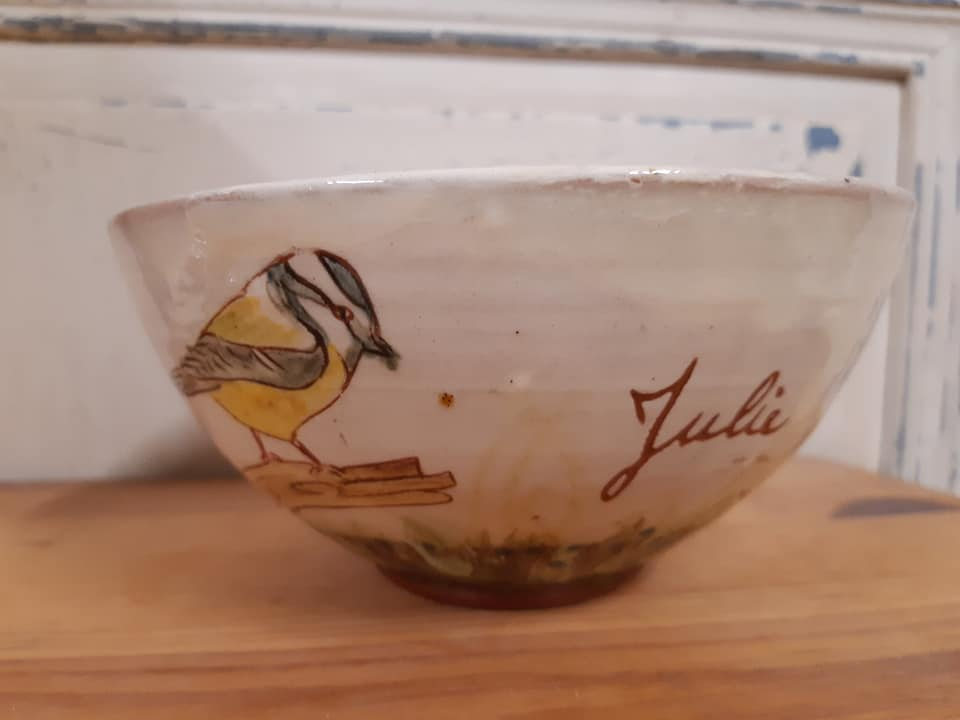 grand bol personnalisé pour julie avec des oiseaux 3