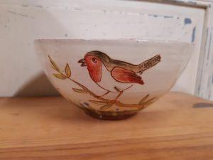 grand bol personnalisé pour julie avec des oiseaux 5