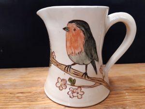 mug artisanal céramique oiseu rouge gorge