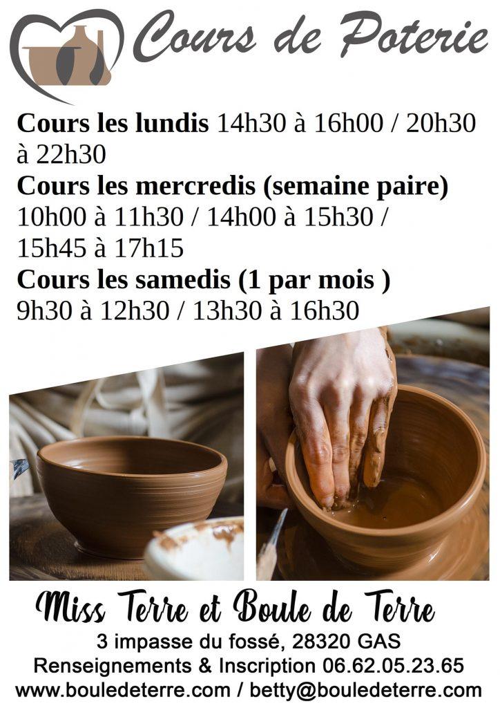 affiche cours de poterie 2020 2021