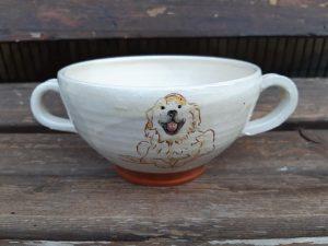 bol à 2 anses décor chien
