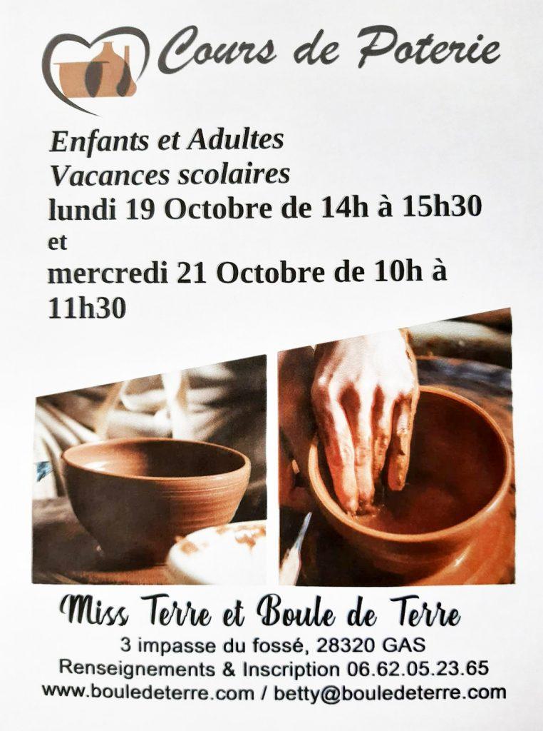 affiche cours de poterie adultes et enfants toussaint 2020