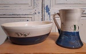 bol pichet ceramique personnalisee bleu poisson