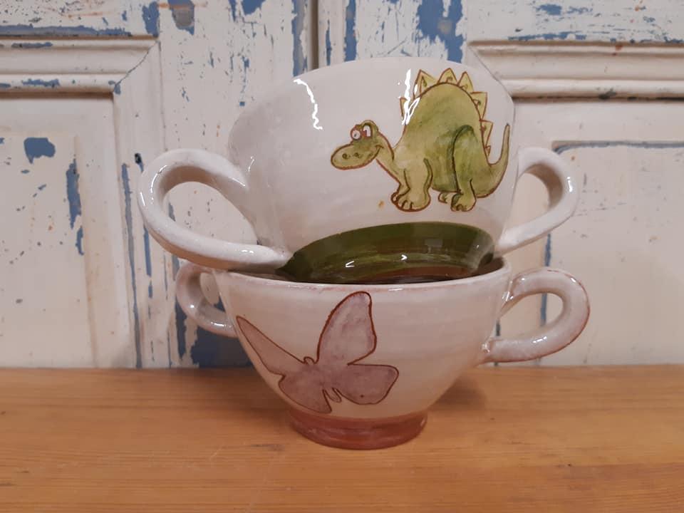 dinosaure et papillon bols personnalisés en céramique artisanale made in France fabriqué en France 2