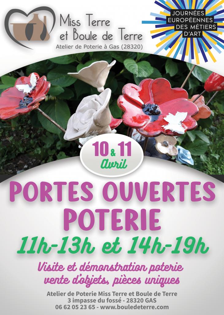 affiche portes ouvertes poterie avril2021 journées européennes des métiers d'art