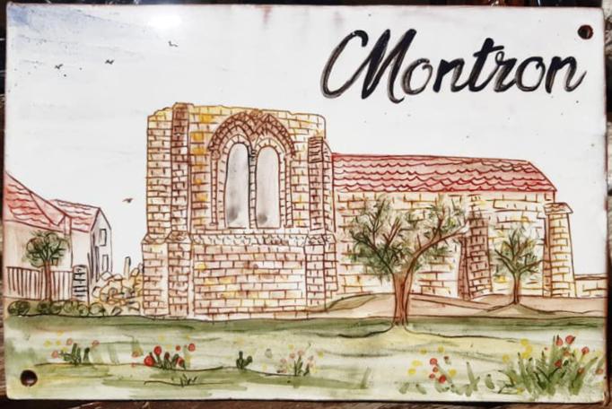 plaque personnalisée céramique d'après une carte postale ancienne montron